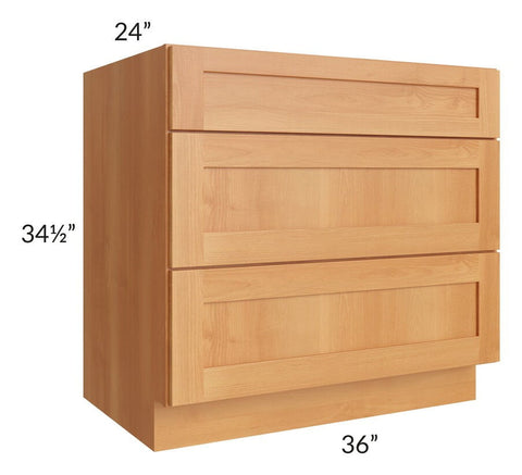 "Shaker Honey 36"" Drawer Base Cabinet"