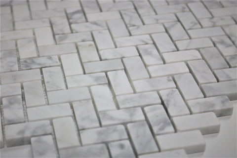 Image of Marble Herringbone Mosaic Tile - $9 SQ FT