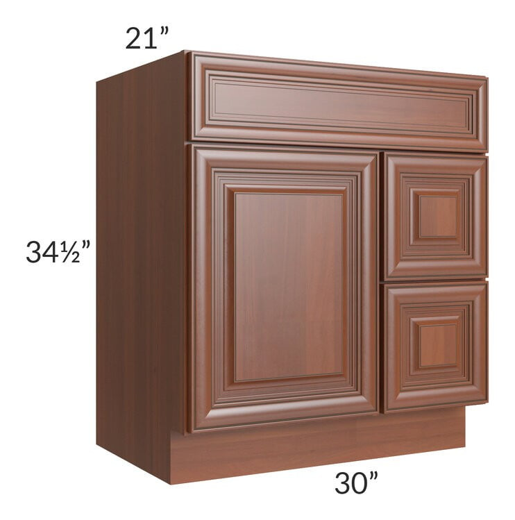 Phoenix Caramel Glaze 30x21 Vanity Sink Base Cabinet (Door on Left)
