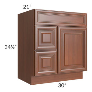 Phoenix Caramel Glaze 30x21 Vanity Sink Base Cabinet (Door on Right)