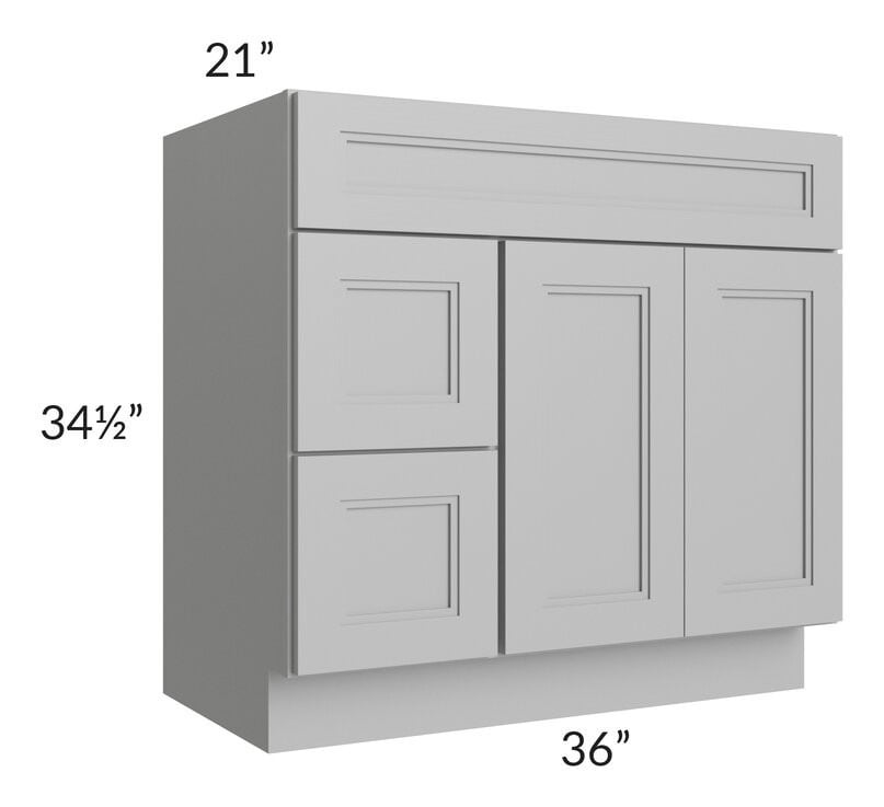 Charlotte Grey 36x21 Vanity Sink Base Cabinet (Doors on Right)