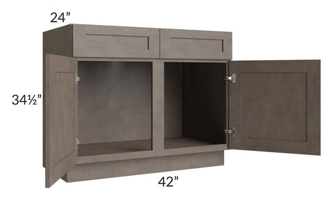 "Natural Grey Shaker 42"" Sink Base Cabinet"