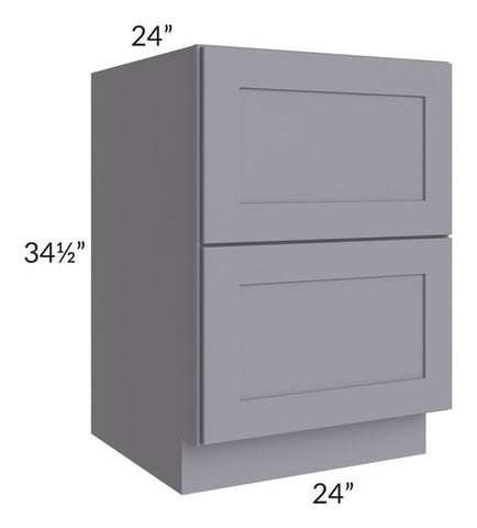 "Graphite Grey Shaker 24"" 2-Drawer Base Cabinet"