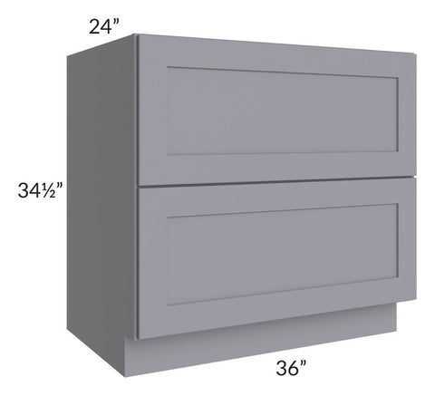 "Graphite Grey Shaker 36"" 2-Drawer Base Cabinet"