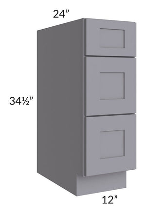 "Graphite Grey Shaker 12"" 3-Drawer Base Cabinet"