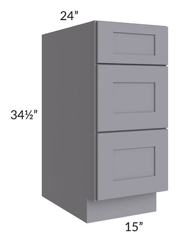 "Graphite Grey Shaker 15"" 3-Drawer Base Cabinet"
