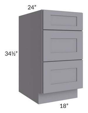"Graphite Grey Shaker 18"" 3-Drawer Base Cabinet"