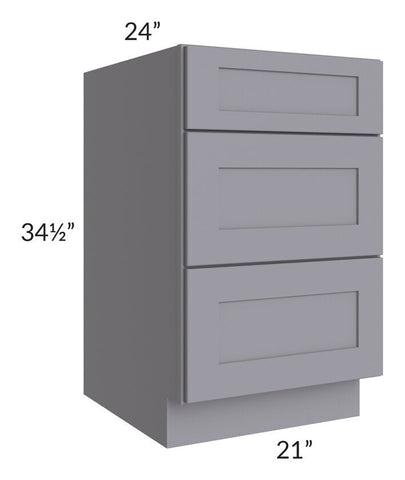 "Graphite Grey Shaker 21"" 3-Drawer Base Cabinet"