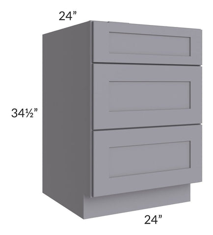 "Graphite Grey Shaker 24"" 3-Drawer Base Cabinet"