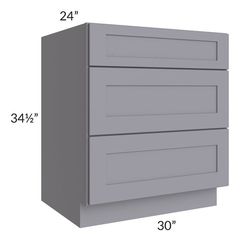 "Graphite Grey Shaker 30"" 3-Drawer Base Cabinet"