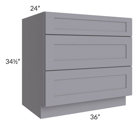 "Graphite Grey Shaker 36"" 3-Drawer Base Cabinet"