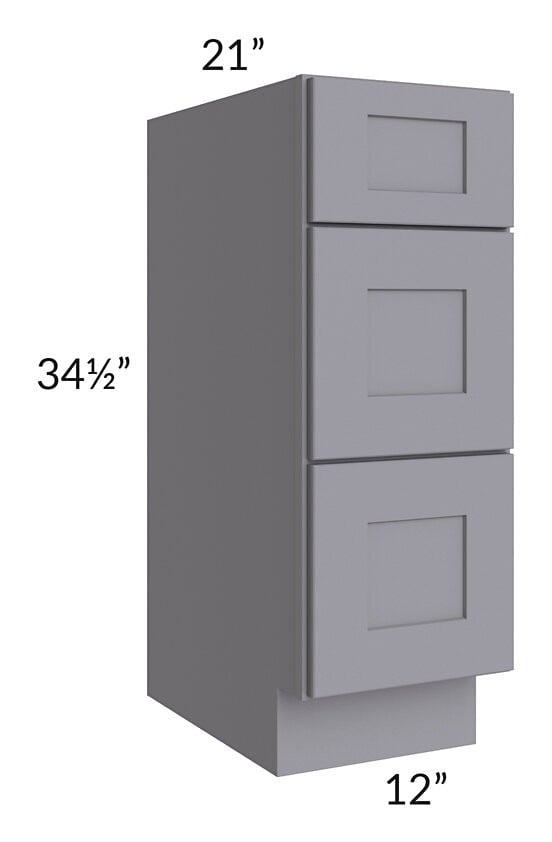 "Graphite Grey Shaker 12"" 3-Drawer Vanity Base Cabinet"