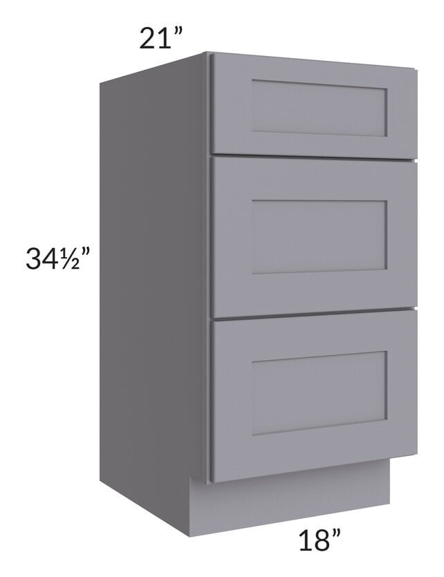 "Graphite Grey Shaker 18"" 3-Drawer Vanity Base Cabinet"