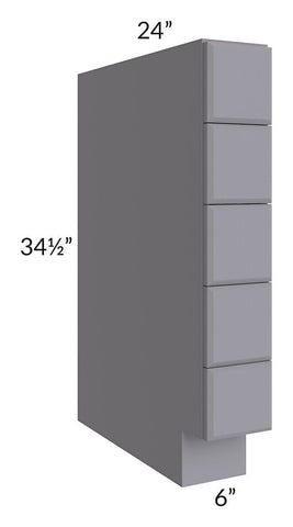 "Graphite Grey Shaker 06"" Base Spice Drawer Cabinet"