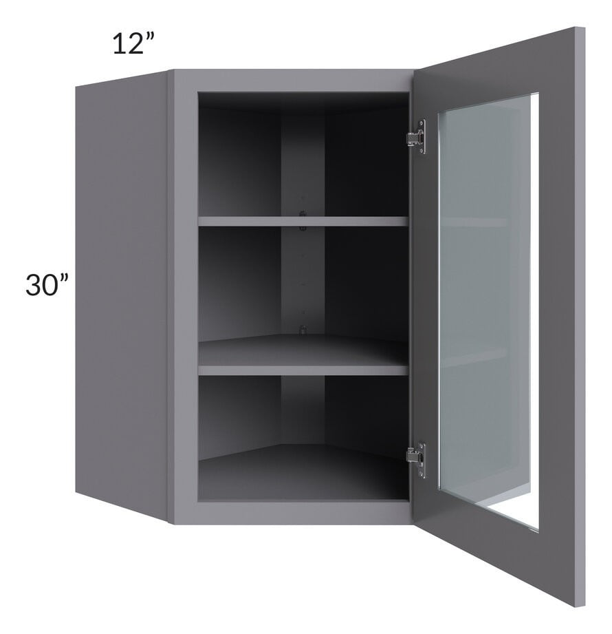Graphite Grey Shaker 24x30 Wall Diagonal Corner Cabinet (Prepped for Glass Doors)