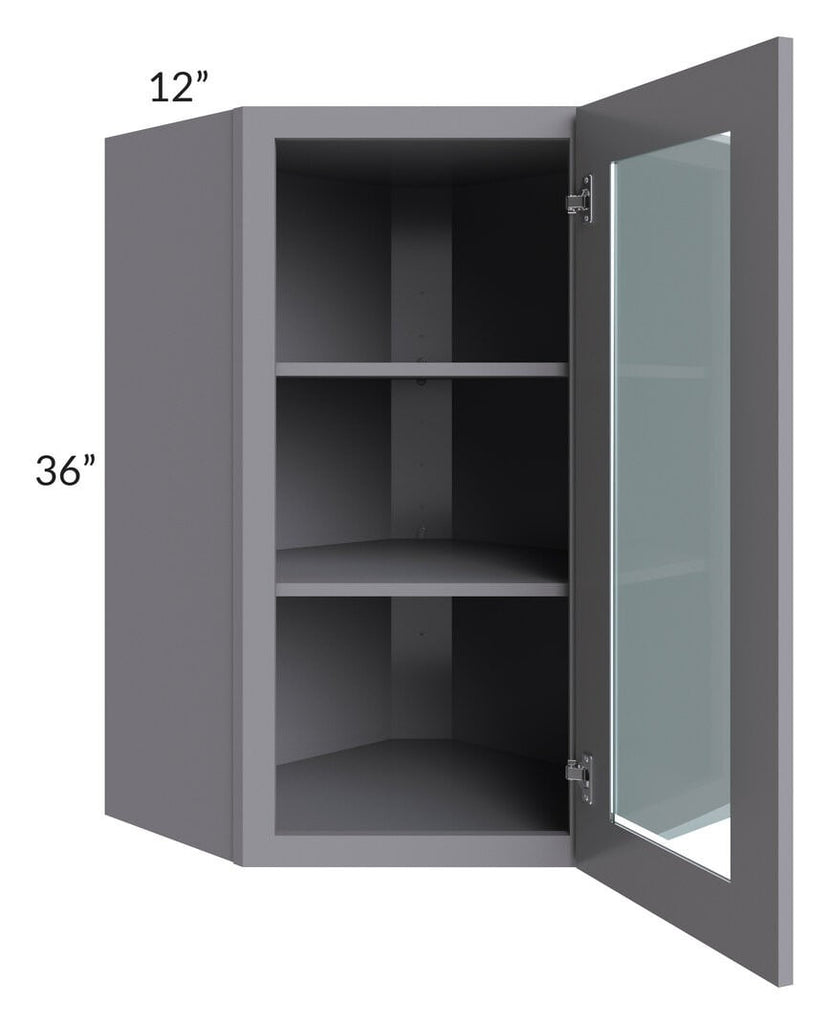 Graphite Grey Shaker 24x36 Wall Diagonal Corner Cabinet (Prepped for Glass Doors)