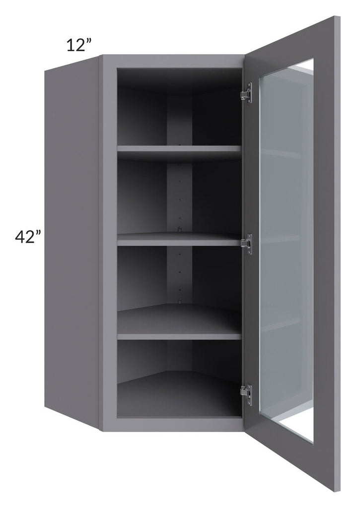 Graphite Grey Shaker 24x42 Wall Diagonal Corner Cabinet (Prepped for Glass Doors)