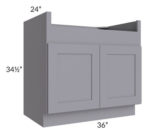 "Graphite Grey Shaker 36"" Farm Sink Base Cabinet"