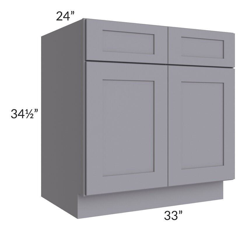 "Graphite Grey Shaker 33"" Sink Base Cabinet"