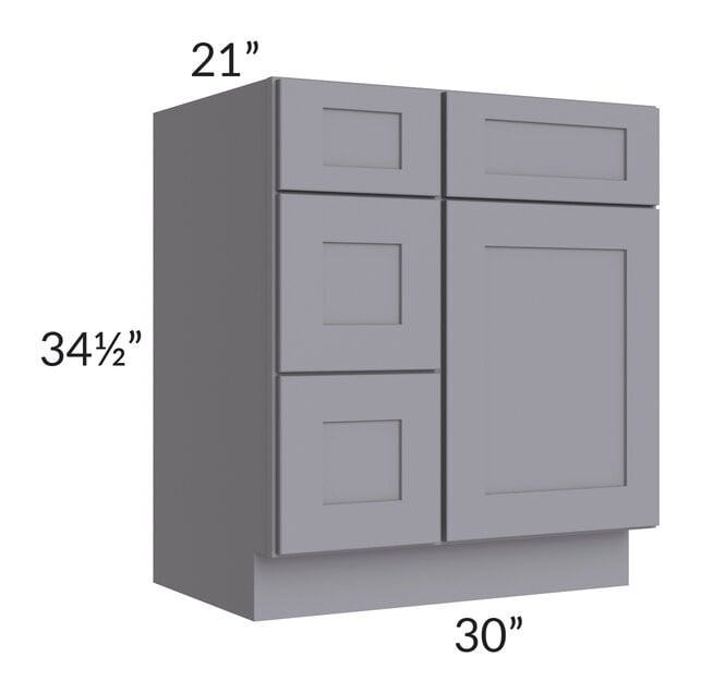 "Graphite Grey Shaker 30"" Vanity Base Cabinet (Drawers on Left)"