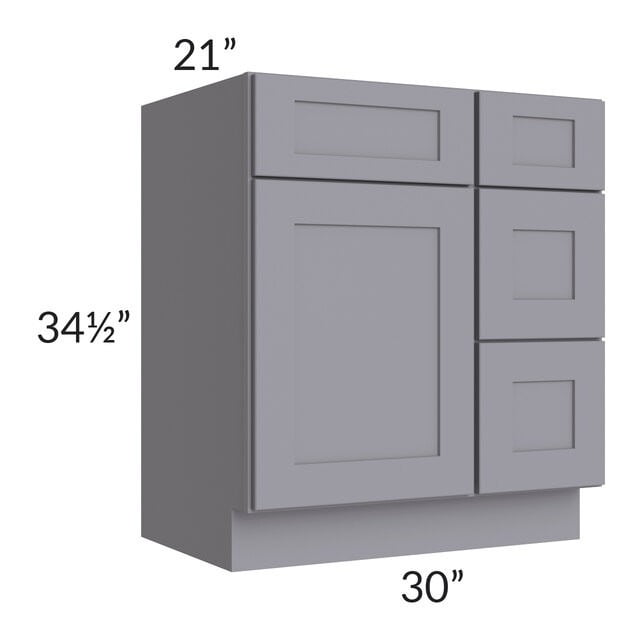 "Graphite Grey Shaker 30"" Vanity Base Cabinet (Drawers on Right)"