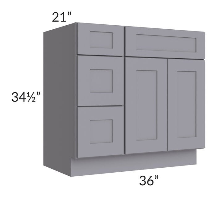 "Graphite Grey Shaker 36"" Vanity Base Cabinet (Drawers on Left)"