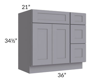 "Graphite Grey Shaker 36"" Vanity Base Cabinet (Drawers on Right)"
