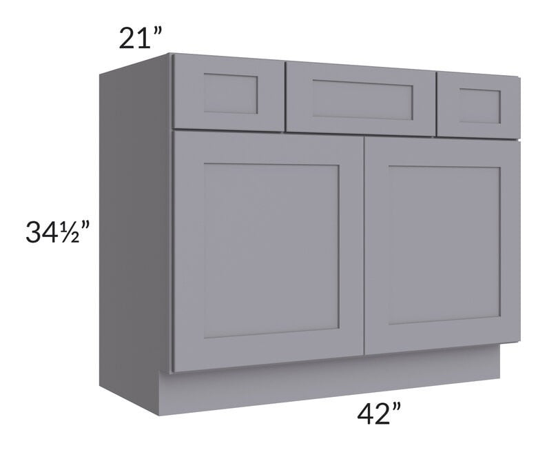 "Graphite Grey Shaker 42"" Vanity Base Cabinet"