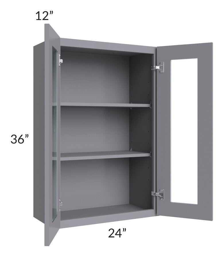 Graphite Grey Shaker 24x36 Wall Glass Door Cabinet (Prepped for Glass Doors)