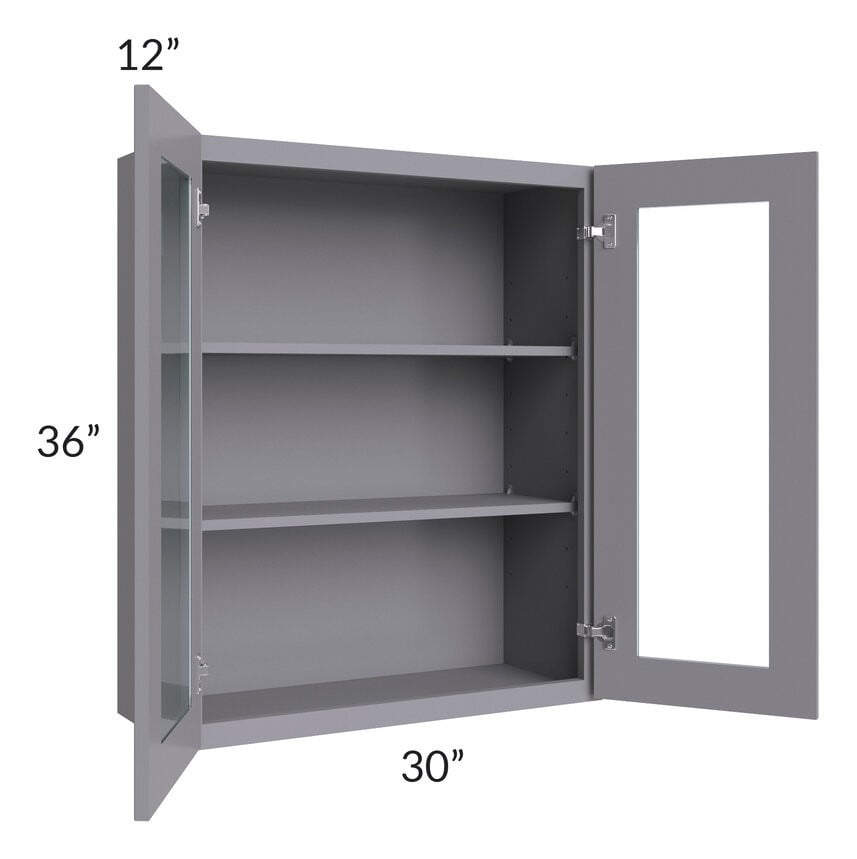 Graphite Grey Shaker 30x36 Wall Glass Door Cabinet (Prepped for Glass Doors)