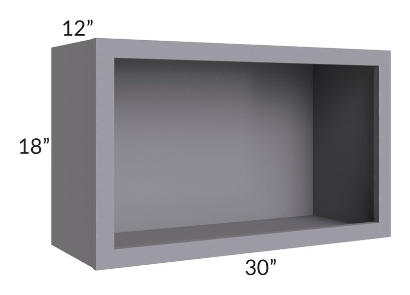 "Graphite Grey Shaker 30"" Wall Open Cabinet"
