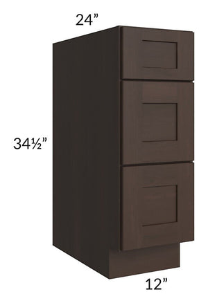 "Dark Chocolate Shaker 12"" 3-Drawer Base Cabinet"