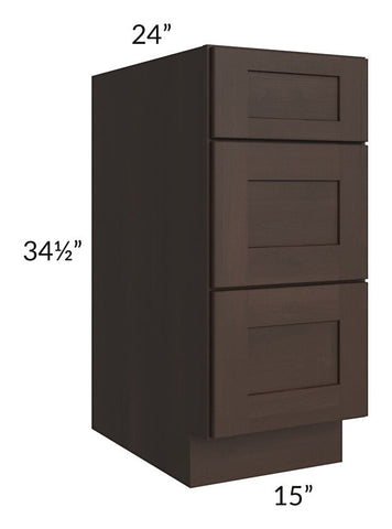 "Dark Chocolate Shaker 15"" 3-Drawer Base Cabinet"