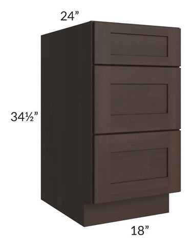 "Dark Chocolate Shaker 18"" 3-Drawer Base Cabinet"