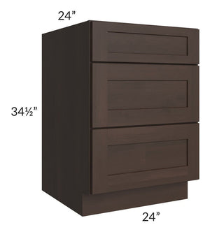 "Dark Chocolate Shaker 24"" 3-Drawer Base Cabinet"