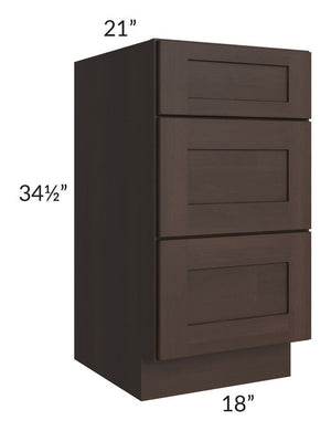 "Dark Chocolate Shaker 18"" 3-Drawer Vanity Base Cabinet"