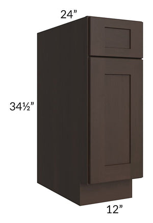 "Dark Chocolate Shaker 12"" Base Cabinet"