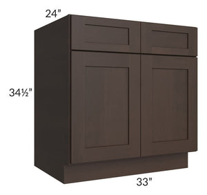"Dark Chocolate Shaker 33"" Base Cabinet - Out of Stock til the beginning of October 2019"