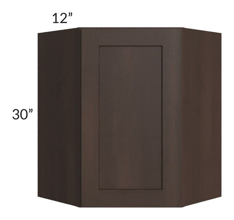 Dark Chocolate Shaker 24x30 Wall Diagonal Corner Cabinet