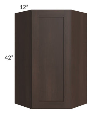 Dark Chocolate Shaker 24x42 Wall Diagonal Corner Cabinet