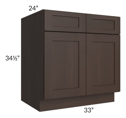 "Dark Chocolate Shaker 33"" Sink Base Cabinet - Out of Stock til the beginning of October 2019"
