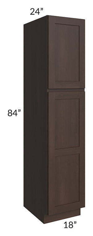 Dark Chocolate Shaker 18x84x24 Wall Pantry Cabinet