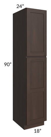 Dark Chocolate Shaker 18x90x24 Wall Pantry Cabinet