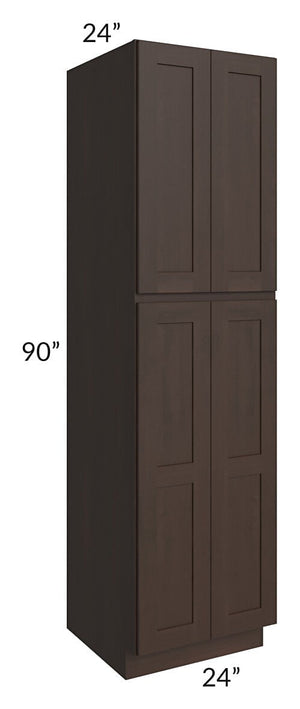 Dark Chocolate Shaker 24x90x24 Wall Pantry Cabinet