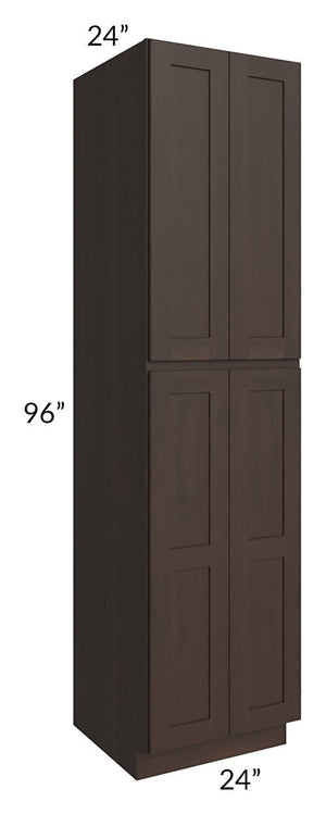 Dark Chocolate Shaker 24x96x24 Wall Pantry Cabinet