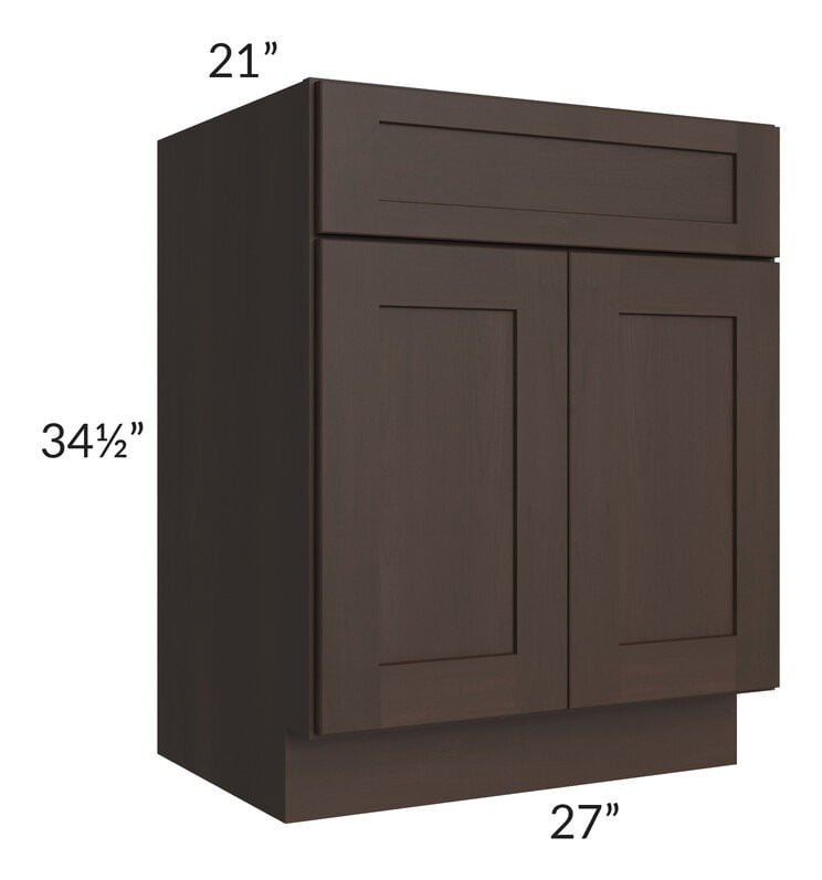 "Dark Chocolate Shaker 27"" Vanity Base Cabinet"
