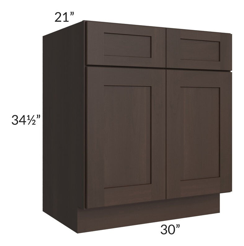 "Dark Chocolate Shaker 30"" Vanity Base Cabinet"