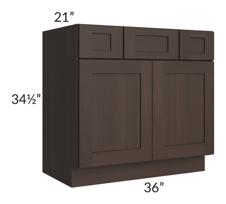 "Dark Chocolate Shaker 36"" Vanity Base Cabinet"