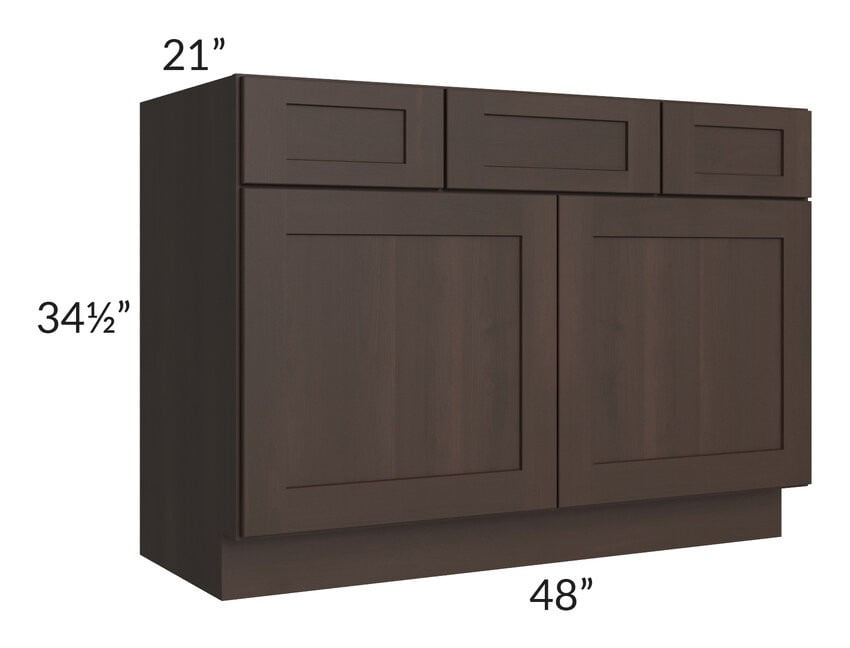 "Dark Chocolate Shaker 48"" Vanity Base Cabinet"