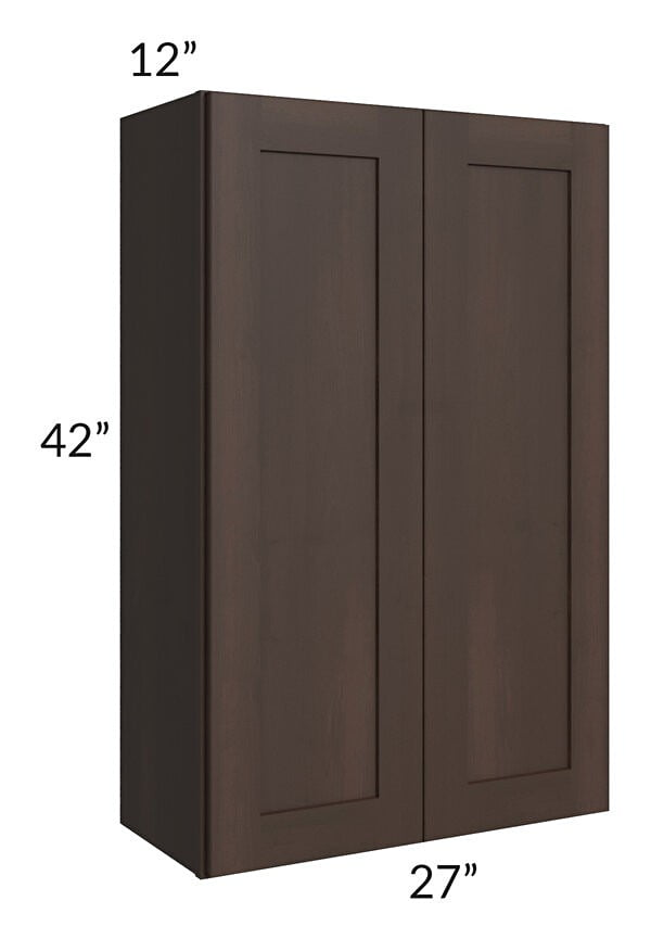 Dark Chocolate Shaker 27x42 Wall Cabinet